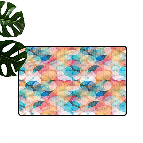 DUCKIL Thin Door mat Geometric Pastel Mosaic Circles Easy to Clean W24 xL35 ()
