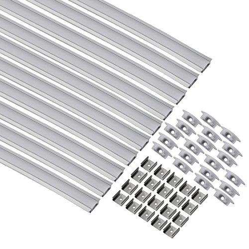 uxcell - Tira de luces LED de aluminio con cubierta para tira de luz (3,28 pies), CN508, paquete de 10)