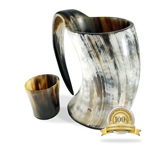 Buddha4all 20 oz Viking Drinking Horn Ale Tankard with Free Horn Shot Glass