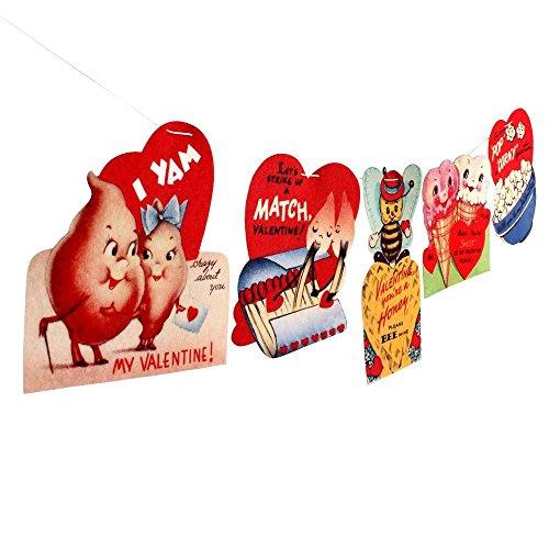 #2 Vintage Valentine Card Garland - photo reproductions on felt