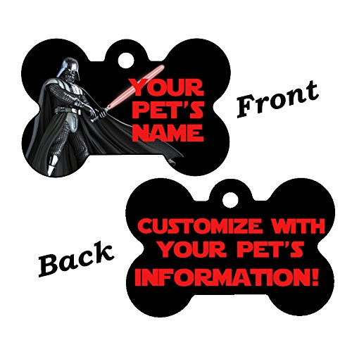 uDesignUSA Disney Double Sided Pet Id Tags for Dogs & Cats Personalized for Your Pet (Darth Vader, Bone -