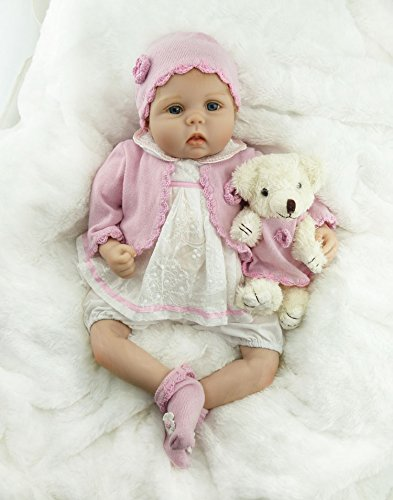 22  Hot Sale Real Looking Reborn Baby Girl Dolls Vinyl Silicone Reborn Baby with Small Bear Toy