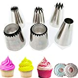 Cake Decorating Icing Piping Tip Set, 4 X-large Decorating Tips for Cakes, 2 Extra large sultane piping nozzle for cookie, 1 L coupler 5 Disposable Pastry Bags