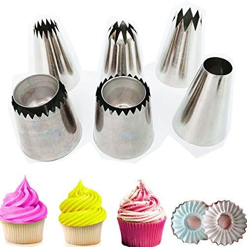 Cake Decorating Icing Piping Tip Set, 4 X-large Decorating Tips for Cakes, 2 Extra large sultane piping nozzle for cookie, 1 L coupler 5 Disposable Pastry Bags by Weilei