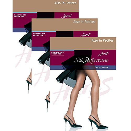 Hanes Womens Set of 3 Silk Reflections Control Top Sheer Toe Pantyhose CD, Barely There