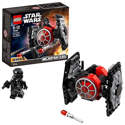 LEGO Star Wars - Microfighter Caza TIE de la Primera Orden, Juguete de La Guerra de las Galaxias de Nave Espacial para Recrear Aventuras en la Galaxia y Exponer, Incluye Minifigura de Piloto (75194)