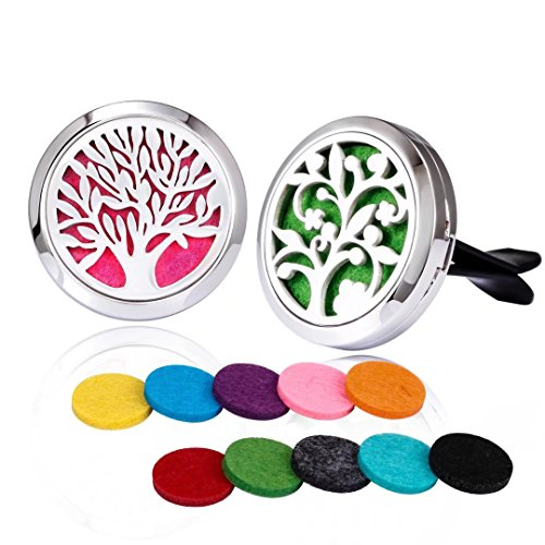 2PCS Car Air Freshener Aromatherapy Essential Oil Diffuser Stainless Steel Locket With Vent Clip Fragrance Felt Pads