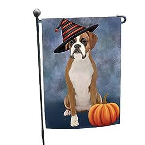 Happy Halloween Boxer Dog Wearing Witch Hat with Pumpkin Garden Flag