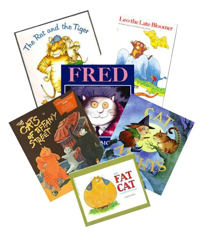 The Cat Pack : The Tiger and the Rat - Leo the Late Bloomer - Fred - The Fat Cat, a Danish Folktale - The Cats on Tiffany Street - Cat Nights (Story Book Set for Kids)