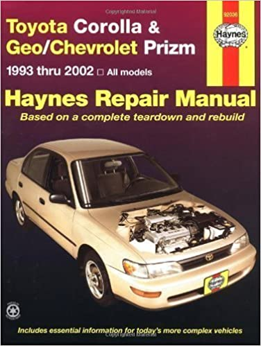 Book Toyota Corolla & Geo/Chevrolet Prizm 1993-2002 (Haynes Manuals) by Haynes 1st (first) Edition (1/1/2003)