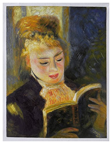 The Reader (Young Woman Reading a Book) - Pierre-Auguste Renoir high quality hand-painted oil painting reproduction,study room wall art,kids room -