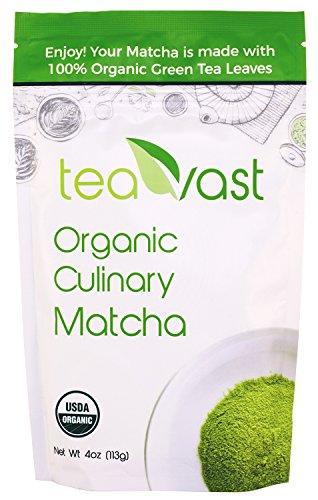 Teavast Matcha Green Tea Powder, USDA Organic and Vegan, Culinary Grade, Made for Iced Latte, Smoothie, Iced Tea, Ice Cream, Baking, Cold Brew and Dessert, Sugar Free, 4 oz.