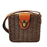 Summer Straw Woven Bag, Beach Handbag Crossbody Shoulder Bag Messenger Satchel Straw Rattan Bag (Brown)
