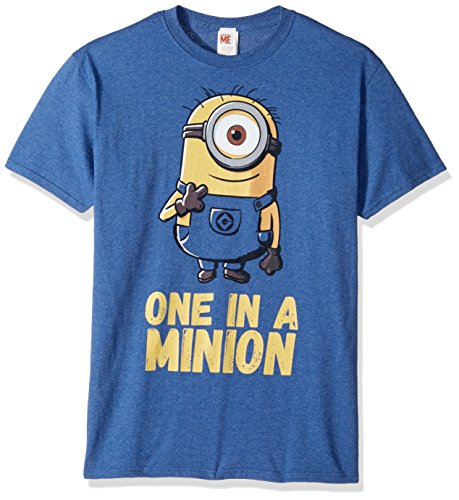 Despicable Me Men's Minions Stuart One in A Million Funny Graphic Tee, Royal Heather, Medium]()