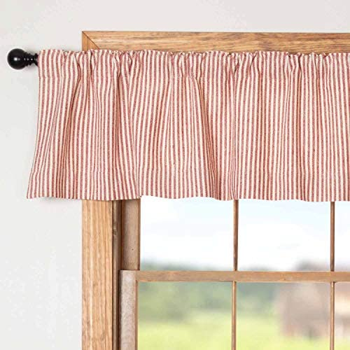 Piper Classics Homespun Red Ticking Valance Curtain, 16 x 72 , Primitive, Country, Farmhouse Style Window Valance