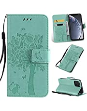 Ogmuk Fashion Premium Green Emboss Tree Cat Butterfly Flowers Strap Case for Girly Women Stand Lovely Stylish Kickstand Credit Cards Slot Cash PU Leather Flip Wallet Case for Samsung Galaxy A8 2018