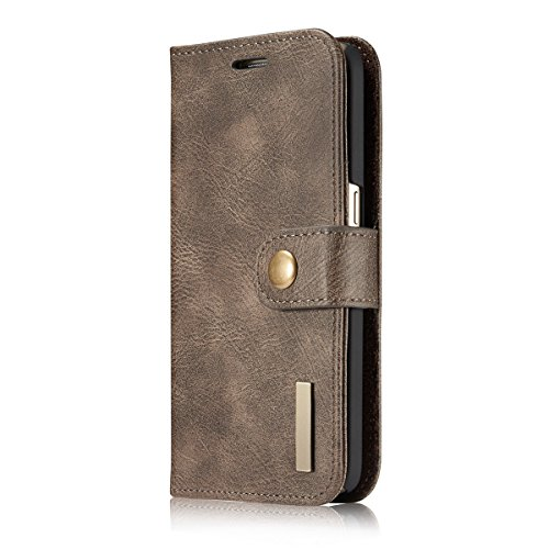 iPhone 7 Case Cover LifeePro [Anti-Scratch] Cowhide Leather Case Flip Wallet Card Slots Cover for iPhone 7 Grey