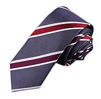 Secdtie Men's Skinny Striped Silk Tie Jacquard Patterned Necktie Multiple Colors