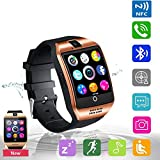 Smart Watch Bluetooth Touchscreen Smart Watches with Camera Smartwatch Water Resistant Sports Fitness Tracker Support iOS iPhone Android Samsung LG for Men Women Kids Golden