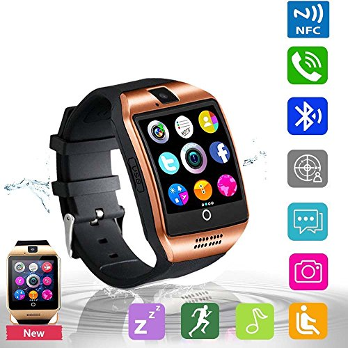 Bluetooth Smart Watch Phone Pandaoo Smart Watch Mobile Phone Unlocked Universal GSM Bluetooth 4.0 NFC Music Player Camera Calendar Stopwatch Sync for Android iPhone Google Huawei Smartphones (Bronze)