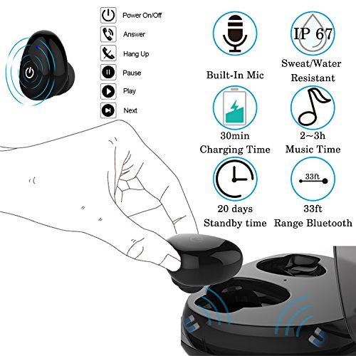 Arvin inalámbrico auriculares, Bluetooth auriculares Mini invisible Bluetooth Headset con almohadillas de repuesto auriculares de cancelación de ruido auriculares Bluetooth inalámbrico auriculares con