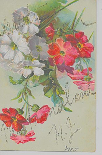 Newfoundland New Jersey Greetings From flowers glittered antique pc Z19903 (Newfoundland Flowers)