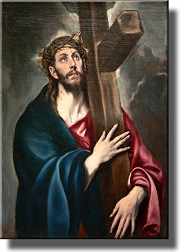 Jesus Christ Carrying the Cross by El Greco Wall Art Picture on Stretched Canvas, Ready to Hang! (Jesus Christ Carrying Cross)