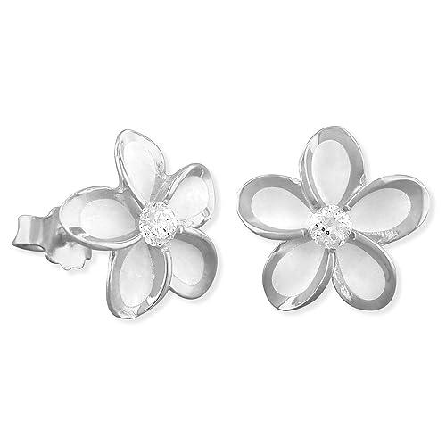 b06e6c16f Amazon.com: Sterling Silver 9mm Plumeria Stud Earrings: Earrings For Women:  Jewelry