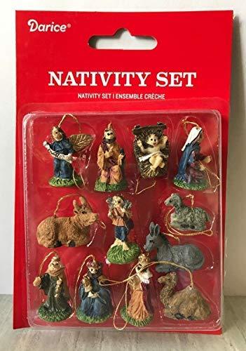 (Glob Shop Miniature Dollhouse Mini Christmas Tree ~ 12 1'' Resin Nativity Ornaments)