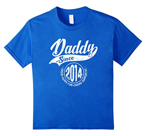Kids Daddy Since 2014 Father's Day Gift Dad Men T-Shirt 6 Royal - Father 2014 Gifts Day