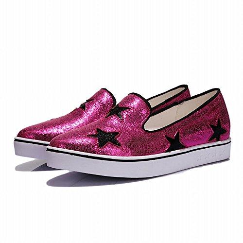 Show Shine Damesmode Stralende Sterren Flats Schoenen Loafers Schoenen Rosy