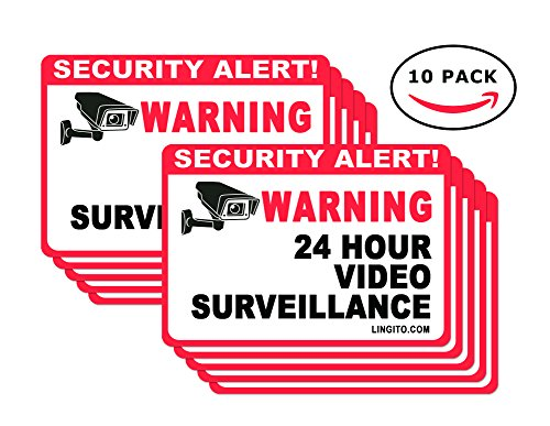 10 Pack Video Surveillance Sign, Vinyl Decal, CCTV Sticker- Camera Sign- Private Property Sign Indoor and Outdoor use