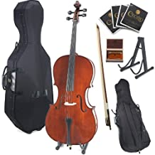 Cecilio CCO-400 Ebony Fitted Solid Wood Cello with Hard and Soft Case, Stand, Bow, Rosin, Bridge and Extra Set of Strings, Size 1/2