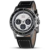 MDC Mens Analog Quartz Military Watch Casual Business Black Leather Chronograph Wrist Watches for Men