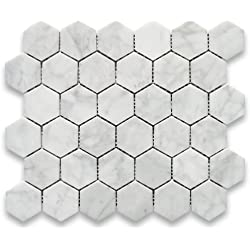 Carrara White Italian Carrera Marble Hexagon Mosaic Tile 2 inch Polished