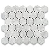 #5: Carrara White Italian Carrera Marble Hexagon Mosaic Tile 2 inch Polished