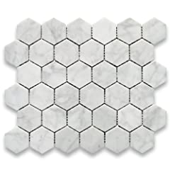 Premium Grade White Carrara Marble Hexagon Mosaic Tile. Italian Bianco Carrera White Venato Carrara Polished 2 inch Hex Mosaic Wall and Floor Tiles are perfect for any residential / commercial projects. The 2 inch Carrara White Marble Hexagon...
