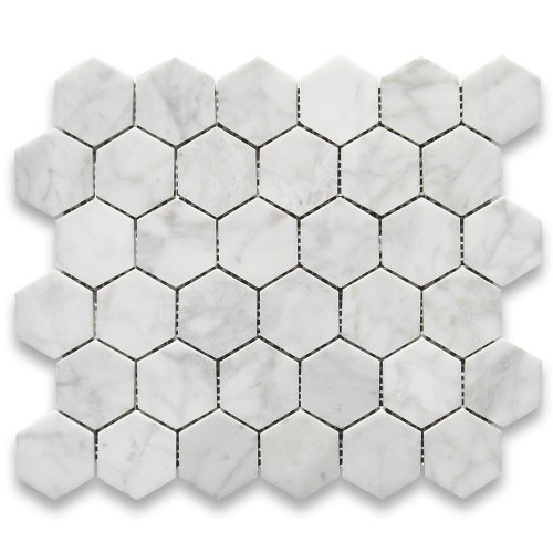 Carrara White Italian Carrera Marble Hexagon Mosaic Tile 2 inch Polished (White Mosaic Flooring)