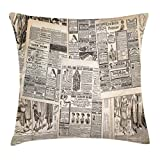 Ambesonne Retro Throw Pillow Cushion Cover by, Vintage French Newspaper Background Nostalgic Antique Dated Past Artful Design, Decorative Square Accent Pillow Case, 24 X 24 Inches, Cream Tan Taupe