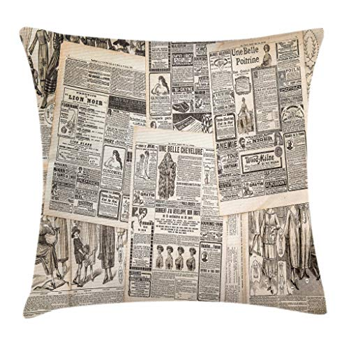 "Ambesonne Retro Throw Pillow Cushion Cover, Vintage French Newspaper Background Nostalgic Antique Dated Past Design, Decorative Square Accent Pillow Case, 20"" X 20"", Taupe Cream"