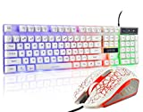Gaming LED Backlit Keyboard and Mouse Combo with Emitting Character 3 Adjustable LED Backlight 3200DPI USB Mouse Multimedia Keys Mechanical Feeling for PC Resberry Pi Mac TOB Box (White)
