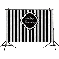 Allenjoy 8x6ft photography backdrops Adults children Birthday party banner Black and Silver Stripes Glitter glamour Sparkle photo studio booth background photocall