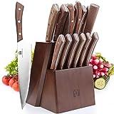 Vestaware Knife Set, 16-Piece Chef Knife Set with Wooden Block, StainlessSteel Kitchen Knives Set with Knife Sharpener, 6 Steak Knives and BonusScissors
