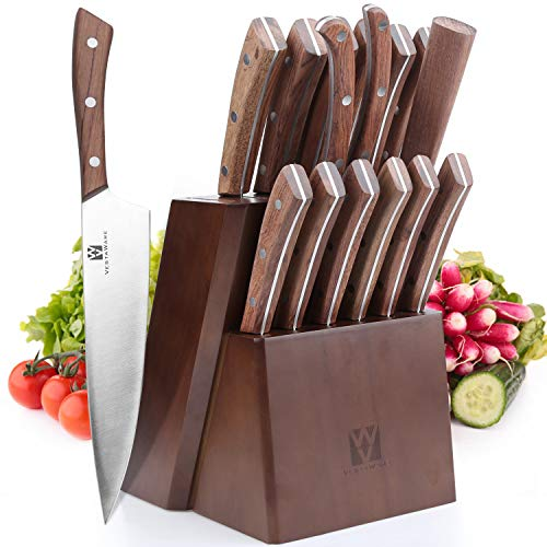 Vestaware Knife Set, 16-Piece Chef Knife Set with Wooden Block, Stainless Steel Kitchen Knives Set with Knife Sharpener, 6 Steak Knives and Bonus Scissors