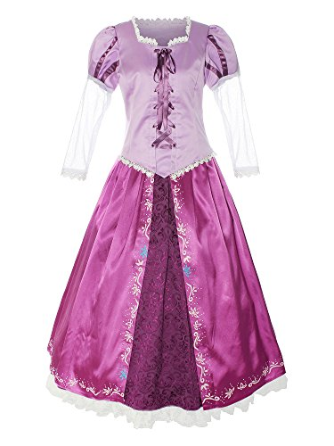 Womens Tangled Costumes (ReliBeauty Womens Lace Up Princess Deluxe Halloween Costume,Purple,12-14)