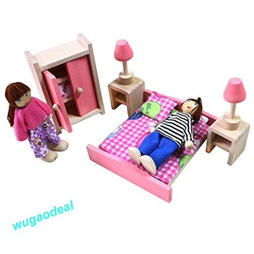 Shalleen 1xBedroom Wooden Doll House Dollhouse Furniture SET Miniature 6 Rooms Set 4/6 DOLLS