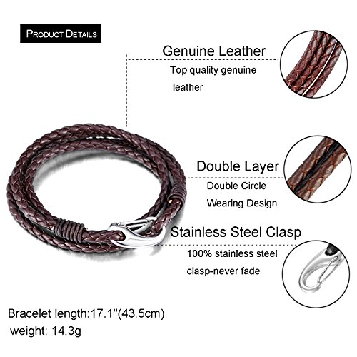 Zhenhui Men's Braided 21cm Black Brown Leather 4-Strand Bracelets with Locking Stainless Steel Lobster Clasp Valentine's Gift Pack of 2 Pcs (Black)