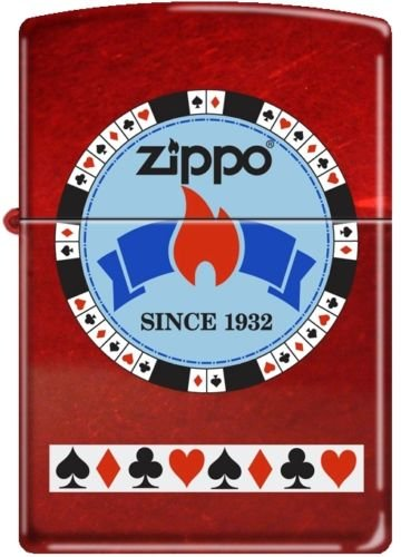 Zippo Gentleman's Bet Poker Chip on Candy Apple Red Windproof Lighter