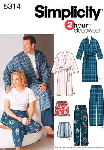 UPC 039363271840, Simplicity 2 Hour Sleepwear Pattern 5314 Women's and Men's Pants or Shorts and Robe Chest 40-50 Size S-M-L
