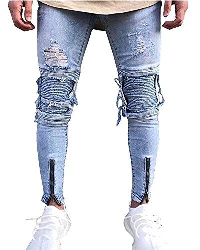 Vaqueros Biker Denim Slim Fit en Estilo Pantalones para Hombre Azul